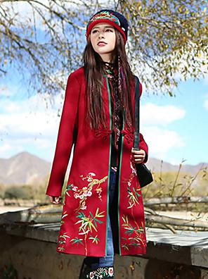 Damen Stickerei Boho Lässig/Alltäglich Mantel,Winter V-Ausschnitt Langarm Rot Wolle / Polyester
