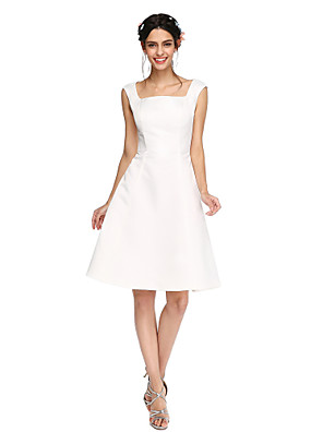 Lanting Bride® באורך  הברך סאטן גב פתוח שמלה לשושבינה - גזרת A מרובע עם קפלים