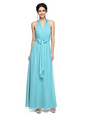 Lanting Bride® עד הריצפה שיפון גב יפהפייה שמלה לשושבינה - גזרת A קולר עם פפיון(ים) / סלסולים