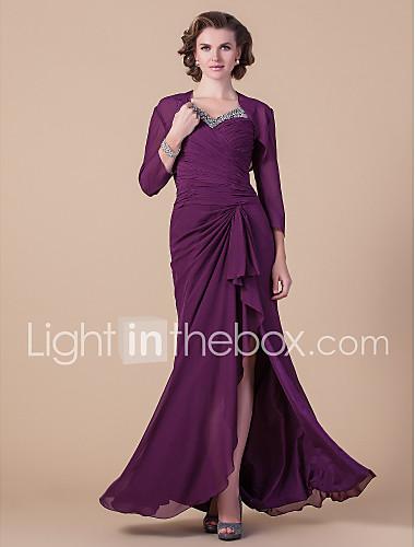 3058d13cf عامودي V رقبة طول الأرض شيفون فستان أم العروس مع حصى / ثنيات جانبية / متصالب