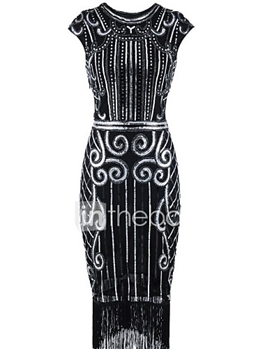 d7cb1a941468 The Great Gatsby 1920s Roaring 20s Costume Women s Flapper Dress  Black+Sliver   Bule