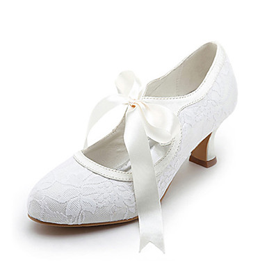 Women's Shoes Satin Upper Middle Spool Heel Closed Toe Spool Heel Pumps With Ribbon Tie Wedding Bridal Shoes