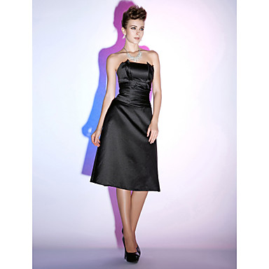 TS Couture Cocktail Party Holiday Dress - Little Black Dress A-line Strapless Knee-length Satin with Ruching