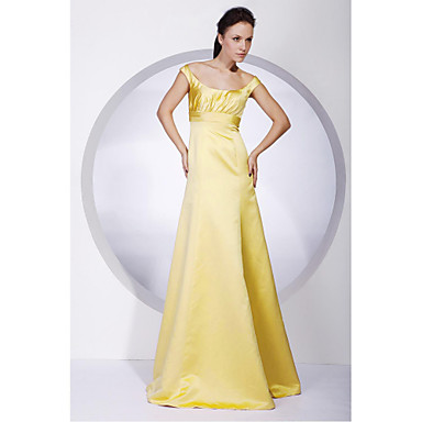 Lanting Bride® Floor-length Satin Bridesmaid Dress - A-line / Princess Off-the-shoulder Plus Size / Petite with Draping
