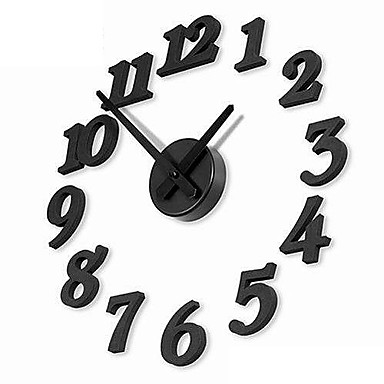 "12"" DIY Numbers Analog Fashion Wall Clock (Black, 1xAA)"