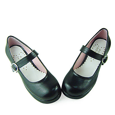 black pu leather 4 5cm high heel school shoes