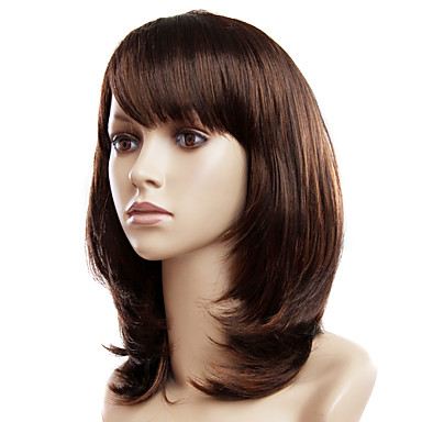 Capless Medium Light Chestnut Brown Wavy Synthetic Wigs 416787 2016  3035