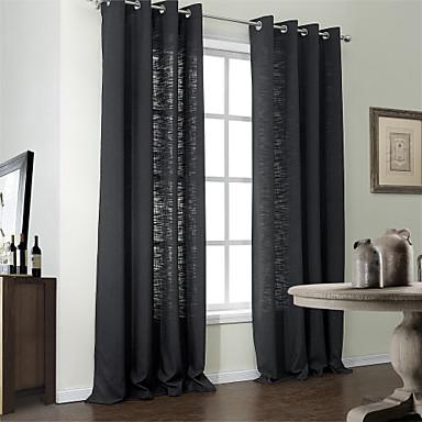 Moderne twee panelen stevige zwarte slaapkamer poly katoen for Gordijnen modern