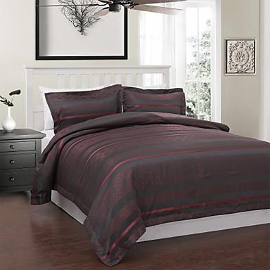 3 pi ces de style moderne rouge et jacquard housse de - Housse de couette grise et rouge ...