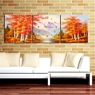 """12""""-24"""" Autumn Maple Forest Wall Clock In Canvas 3pcs"""