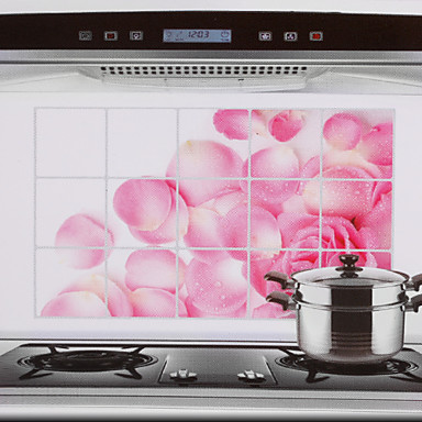 Buy 75x45cm Pink Rose Pattern Oil-Proof Water-Proof Hot-Proof Kitchen Wall Sticker