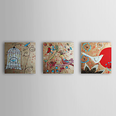 Hand Painted Oil Painting Animal Bird with Stretched Frame Set of 3 1309-AN0908