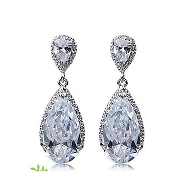 Graceful Copper Platinum Plated With Cubic Zirconia Women's Earrings