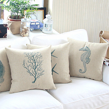 Coastal Inspired Throw Pillows : TWOPAGES Cotton/Linen Pillow Cover Coastal Beach Style 799369 2016 ? USD32.39