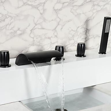 Vintage Style olio strofinato bronzo bagno cascata rubinetto vasca con ...