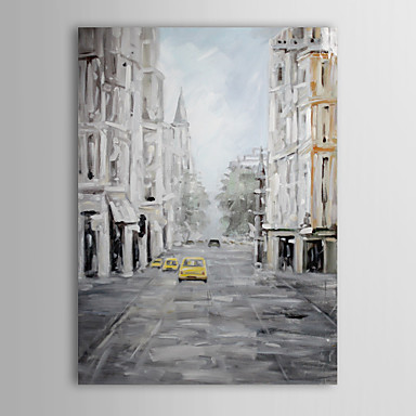 Hand Painted Oil Painting Landscape Europe Street with Stretched Frame 1310-L...