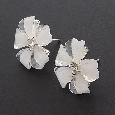 (1pair)Vintage Flower White Silver-Plated Stud Earrings