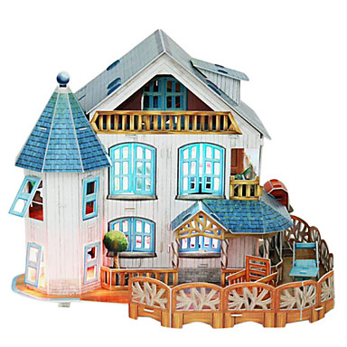 3D Country House Puzzles with Light Decoration-132 Pieces