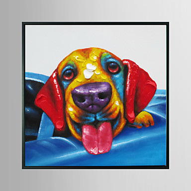 Dog in Blue Car Animal Framed Oil Painting