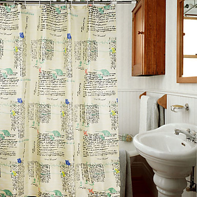 Shower Curtain Polyester Characters Pattern Off White Water Resistant Thick Fabric W71 X L78