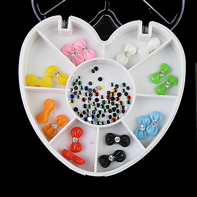 Buy 8-Color 3D Nail Art Bows Rhinestone Decoration Mixed-color 2mm Wheel Glitter