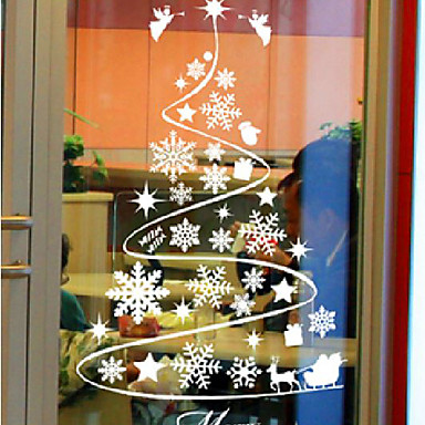 classic abstract christmas tree window stickers 963931