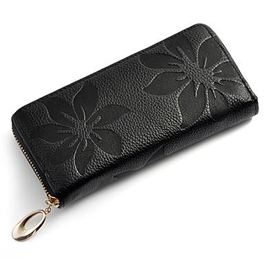 Mega Floral Print Leather Wallet(Black)