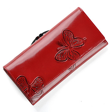 Mega Classic Butterfly Pattern Leather Long Wallet(Red)