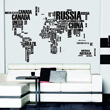 Letters map of world wall decals removable wall stickers for Stickers muraux