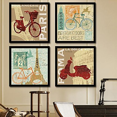 Buy Architecture Framed Canvas / Set Wall Art,PVC Black Mat Frame Art
