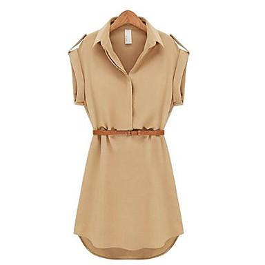 Women's Casual Solid Shirt Collar Short Sleeve Mini Belted Chiffon Dress