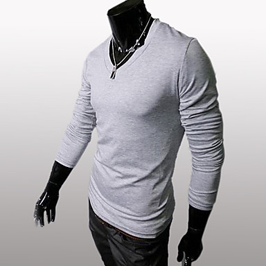 Men's Slim Fit V Neck Long Sleeve T-Shirt