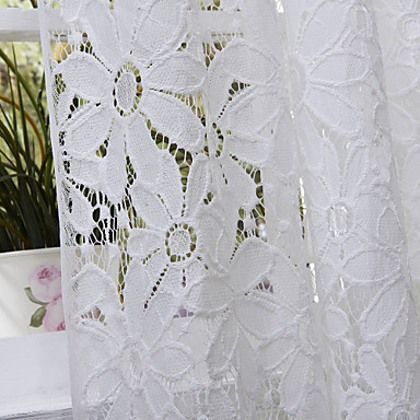 (One Panel Rod Pocket)Elegant Beautiful Knitted Flowers Allover Lace Sheer