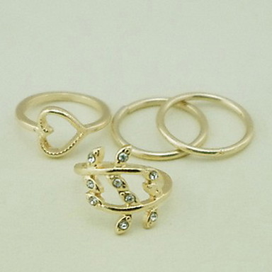 Midi Rings Set Simulated Diamond Alloy Heart Heart Gold Silver Jewelry Party Daily Casual 4pcs