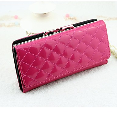 Women Buckle Cover Lingge Patent Leather Wallet Purse A Long Paragraph(Lining Color on Random)