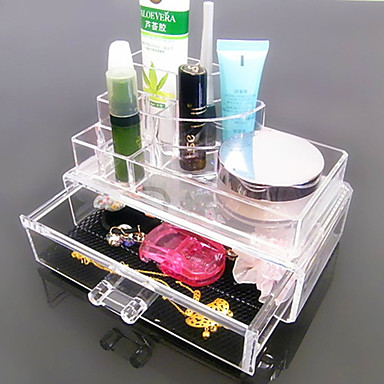 Buy Acrylic Transparent Complex Combined Double Layer Cosmetics Storage Drawer Cosmetic Organizer