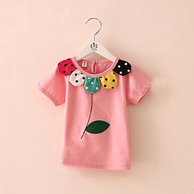 Girl's Floral Tee,Cotton Blend Summer Pink / White / Yellow