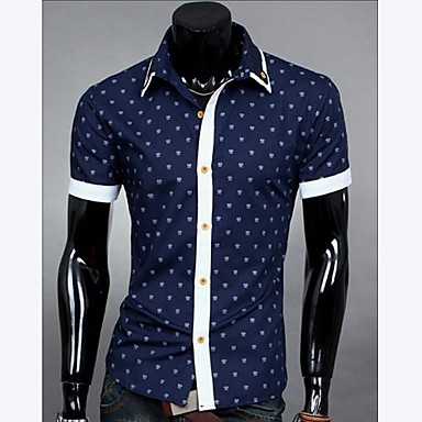 Men 39 s splicing color polka dots casual short sleeve shirt for Mens polka dot shirt short sleeve