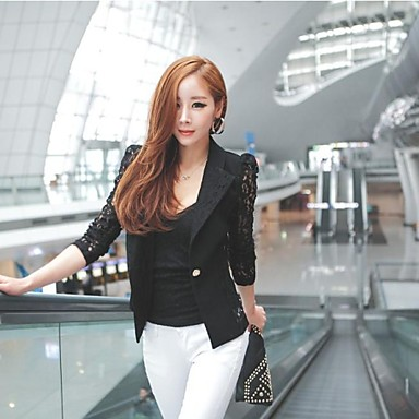 Women's Tailor Collar Lace Splicing Puff Sleeve Blazer