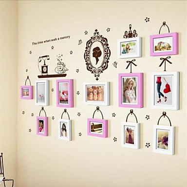 2 Colors Photo Frame Set of 13 with Wall Sticker