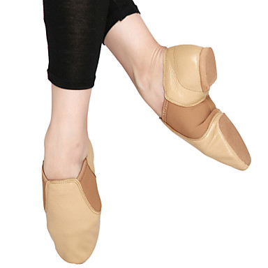 Fashion Womens Leather And Fabric Upper Jazz Dance Shoes More Colors Leather Women s Flat Heel Jazz