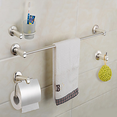 Bathroom accessories set silver finish single robe hooks for Bathroom accessories silver