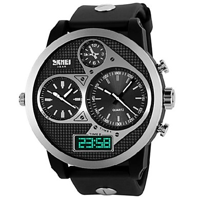 Buy Skmei® Men's Watch Big Dial Three Time Zones 50M Waterproof Wrist Cool Unique