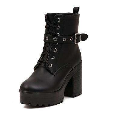 femme chaussures similicuir printemps hiver gros talon bottine demi botte avec lacet pour. Black Bedroom Furniture Sets. Home Design Ideas