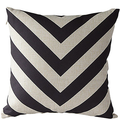 Buy Black Beige Striped Cotton/Linen Decorative Pillow Cover