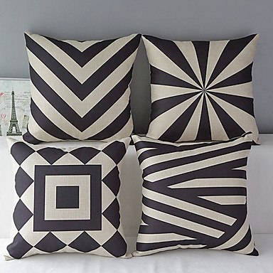 Buy Set 4 Modern Geometric Cotton/Linen Decorative Pillow Cover