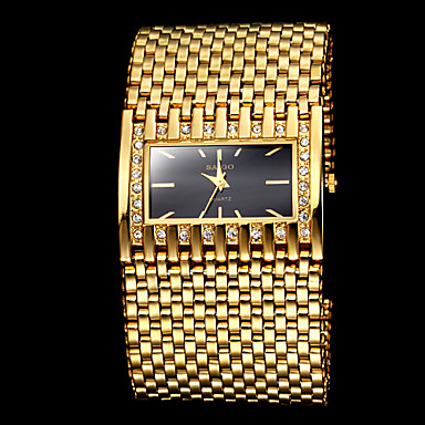 s luxury fashion square wide gold steel band