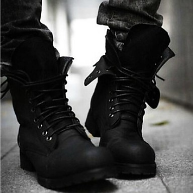 Men's Spring Fall Winter Riding Boots Fashion Boots Leatherette Office & Career Casual Low Heel Lace-up Black Brown