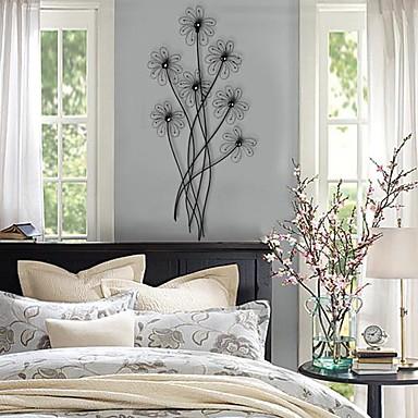 Paroi m tallique art mural d cor de belles fleurs for Decoration murale metallique