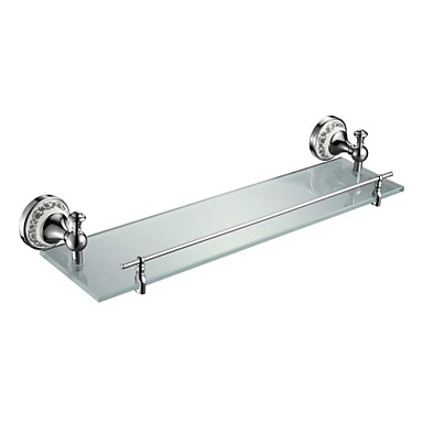 Buy Contemporary Chrome Finish Glass Shelf Rail